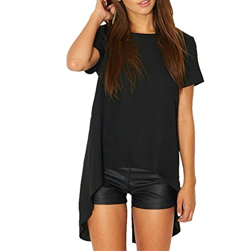Shujin Damen Sommer Modal T-Shirt Asymmetrisch Kurzarmshirt Vorne Kurz Hinten Lang Loose Oberteile Tops