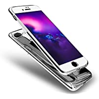 """Uposao Spiegel Handyhülle iPhone 6S 4.7"""" Glänzend Glitzer Mirror Case 360 Grad Full Body Case Komplettschutz Rundum Vollständige Hülle Ultra Dünn Anti-Kratzer Stoßfest Hart Tasche,Silber"""