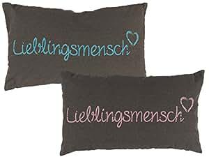 "Bada Bing, set di nastricon scritta in lingua tedesca ""Lieblingsmensch"" per guanciali, tazze, borsa dell'acqua calda, colore grigio crema 2er Set Kissen Lieblingsmensch Grau Blauer und Rosa Schriftzug"