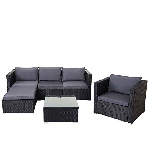 Mendler Poly-Rattan-Garnitur Brescia, Gartengarnitur Sitzgruppe Lounge-Set ~ schwarz, Kissen...