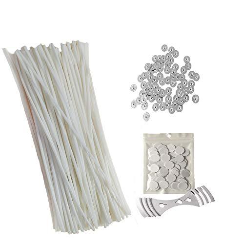 Sentovac Kerzen-Herstellungs-Set, 100 vorgewachste Dochte (20 cm) mit 150 Stück Sustainer Tabs, 150 Punkte Docht Aufkleber und 1 Stück Docht fixiert Halter, Kerzendochte zum Basteln von Kerzen