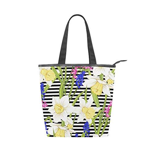 Jeansame Canvas Bag Tote Bag Einkaufstasche mit Tragegriff oben Schultertasche Handtasche Blumen Vintage Vergissme Lavendel gestreift - Lavendel Vintage Handtasche