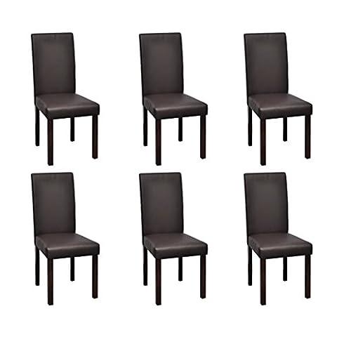 Lot de 6 chaises de salle à manger en simili cuir marron chocolat & bois design colonial