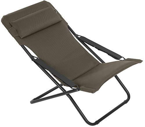 Lafuma Chaise longue, Pliable et réglable, Transabed, Air Comfort, Couleur: Taupe, LFM2865-7057
