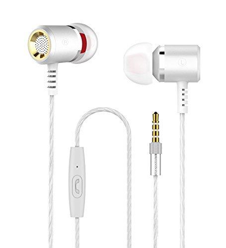 Langsdom M400 Auriculares In-Ear con Control de Teléfono Universal y Micrófono Estéreo y Graves para Dispositivos Apple, Samsung, Android (Plata)