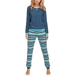 Cornette Pijama Conjunto Camiseta y Pantalones Mujer 671 2016 (Jeans/Turquesa(Emily), L)