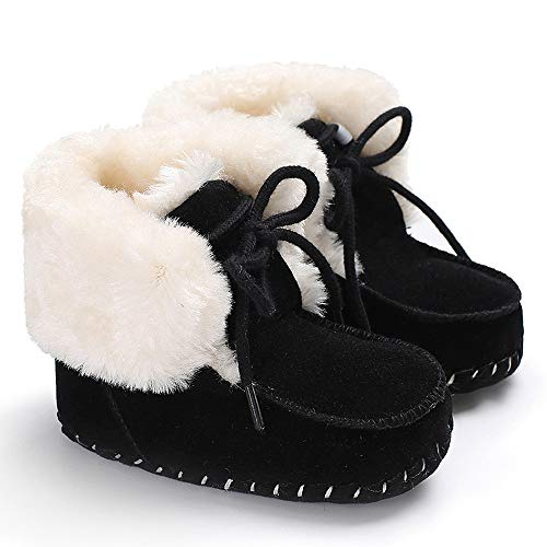 Sisttke Baby Boys Girls Cozy Fleece Booties Winter Warm Plush Toddler Infant Snow Boots Non-Skid Bottom