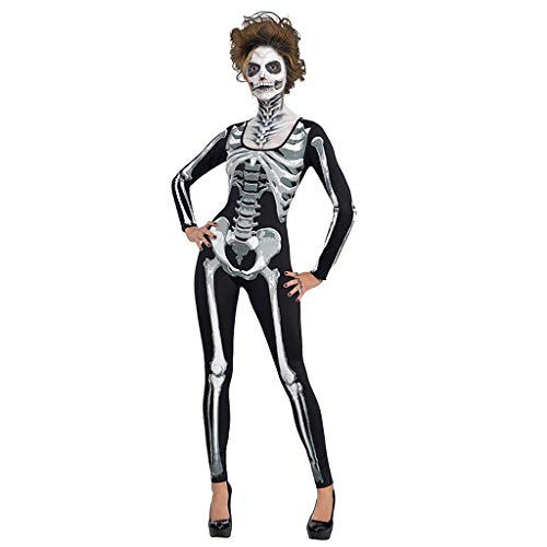 Skelett Kostüm Brustkorb - Lazzboy Weisefrauen Halloween Knochen Druck Rundhals Reißverschluss Bodys Damen Großem Skelett-Print Vom Brustkorb - Ideal Als Lustige Halloween Verkleidung(Schwarz,S)