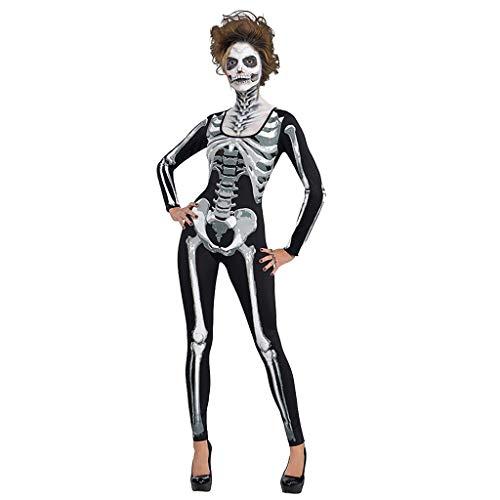 Schädel Skelett Kostüm Zucker - CANDLLY Halloween Cosplay Damen Mode Frauen Neu Halloween Knochendruck Rundhals Reißverschluss Bodys Kostüm Skelett Overall Geisterkostüm Party Performance Cosplay Anzug Jumpsuit