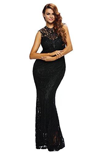 Loveours Schwarz Spitze Ärmellos Cocktail Kleid Spitzenkleid Abendkleid Schwarz