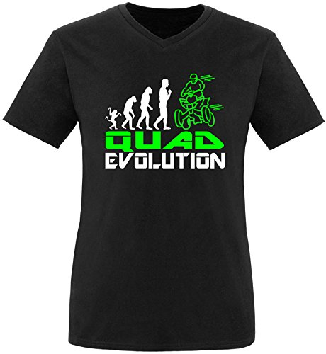 EZYshirt® Quad Evolution Herren V-Neck T-Shirt Schwarz/Weiss/Neongr