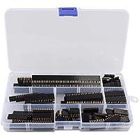 Haljia 120 piezas 2.54mm Straight Single Row Stackable Hembra Pin Header Strip, PCB Junta hembra Pin Enchufe Conector para Arduino Apilable Shield (4Pin/6Pin/8Pin/10Pin/12Pin/16Pin/20Pin/40Pin)