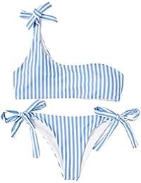 SOLYHUX Mujer Conjunto De Bikini Con Detalle De RAYAS Con Un Hombro Con Cordón Lateral de