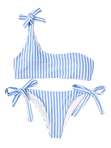 SOLYHUX Mujer Conjunto De Bikini Con Detalle De RAYAS Con Un Hombro Con Cordón Lateral de baño bikini,+2 PCS Traje de Baño 2018 Verano Sexy