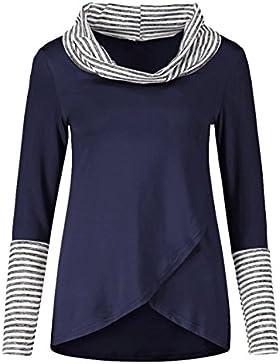 Camisas Mujer Camisa de Manga Larga de Jersey Tops Blusa Raya