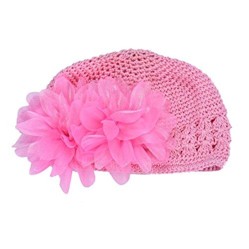 LuckyGirls Mütze Baby kinder Mädchen Spitze Blume Haarband Stirnband Headwear Häkeln Hut (pink)