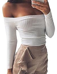 Minetom Mujeres Suéter Jerseys Manga Larga Top ajustado Suéter que Hace Punto Sin Tirantes de la Camiseta Ocasional Blouses