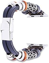 Apple Watch 38mm Bracelet en Cuir,iWatch Bande Remplacment,Bracelet de Montre pour Homme et Femme pour Apple Watch Series 1 Series 2 Series 3,38mm Sport & Edition Noir
