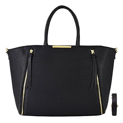 CRAZYCHIC - Sac à main cabas avec zip déco à l'avant et plaque dorée - Sac femme - Tendance - Noir