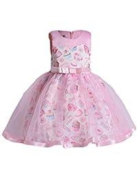 Niñas Vestido de Princesa Sin Mangas Patrón Impreso Vestidos de Dama ...