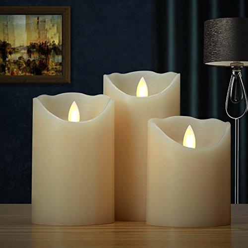 smtyle velas led funciona con pilas Llama Vela Pilar de cera con temporizador-3