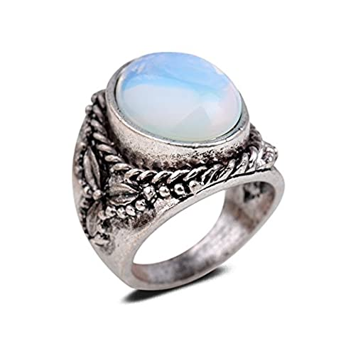 Yazilind Vintage Antique Oval Cut White Opal Retro Silver Plated Embossed M Ring Women