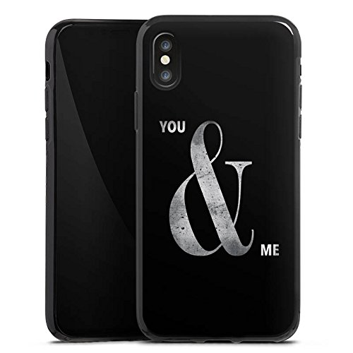 Apple iPhone X Silikon Hülle Case Schutzhülle You & Me Freundschaft Spruch Silikon Case schwarz