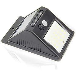 Luz de solar 20 LED, Lámparas Solares Luces de Exterior con Sensor de movimiento de Seguridad Inalámbricas y con Batería Solar Exterior para Jardín Patio Terraza Inicio Camino Escalera Exterior