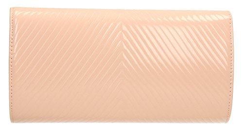 Vanesa V point brevet Enveloppe en cuir pour femme de mariage Party Prom Embrayage Sac Mesdames–SwankySwans Pink