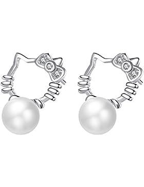 Red Moon Damen Ohrstecker Ohrringe Hello Kitty Sterling Silber 925 und Natürlichen Süßwasserperle,2 Stück RM4140