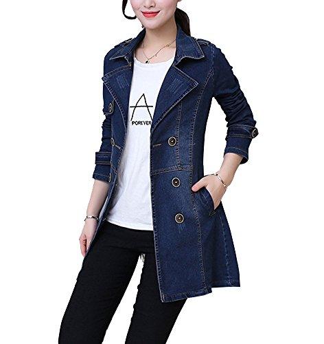 Guiran Damen Jeansjacke Blouson Übergangsjacke Denim Mantel Outwear Trenchcoat Frühling Herbst Parka Blau XXL