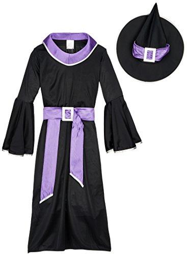 Tante Tina Hexenkostüm für Kinder - Schwarz, Blau - L - Gr. 140 - 7-10 Jahre (Halloween-kostüm Jungen Zwei-jährigen)