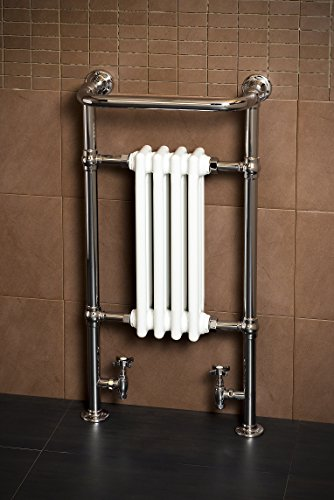 WarmeHaus Traditional Bathroom Heated Towel Radiator 940 x 479 Chrome - 10 year guarantee