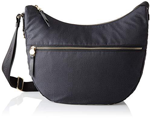 Borbonese Luna Bag, Borsa a Tracolla Donna, Nero, 35x38x15 cm (W x H x L)