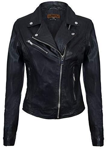 Infinity Leather Damen Schwarz Lederjacke Klassische Bikerjacke Aus Echtem Leder S