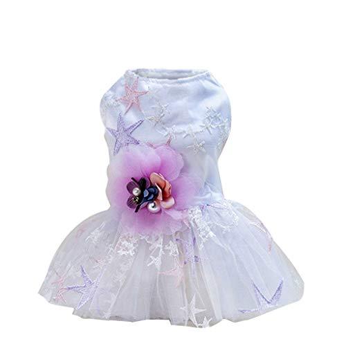 YWLINK Mode Haustier KostüMe Sommer Elegant Retro Streifen Mesh Patchwork Atmungsaktiv Einfach Party Hochzeit Kleid(Weiß,XS)