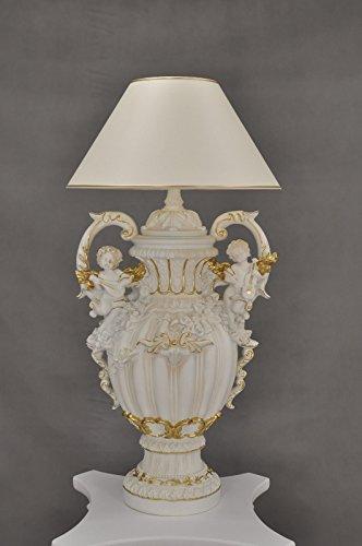 ENGELSLAMPE ENGEL LAMPE BAROCK DESIGN LEUCHTE TISCHLAMPE NACHTTISCHLAMPE LAMPENSCHIRM LIEBEVOLL HANDBEMALT LICHT