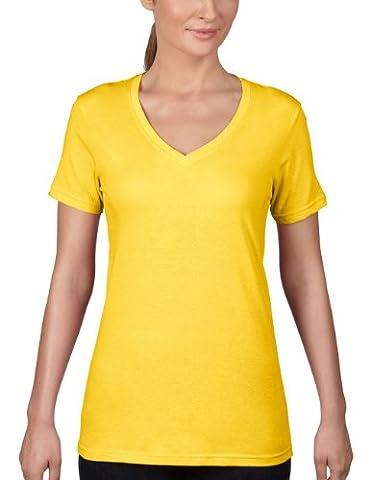anvil Anvil Woman V-Neck Tee - T-Shirt - T-Shirt - Uni - Col V - Manches Courtes - Femme, Jaune (Lzt Lemon Zest 331), 46 (Taille fabricant: XL)