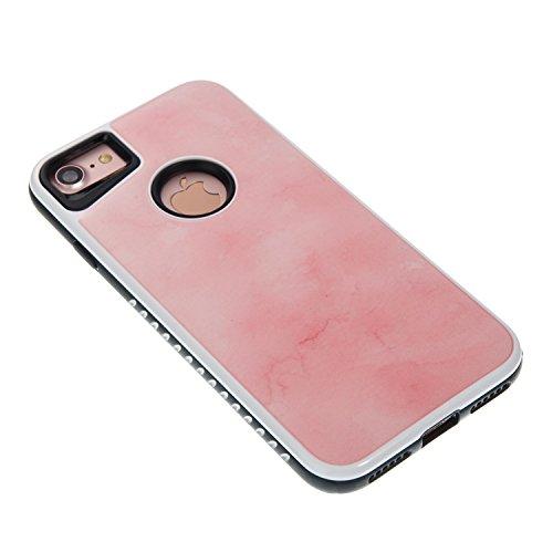EKINHUI Case Cover Dual Layer Scrub Marmor Stein Bild Pattern PC + Soft TPU Fall zurück Schutzhülle Shell für iPhone 7 ( Color : E ) E
