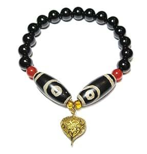 feng shui tibetischen drachen 2 augen dzi bead amulett. Black Bedroom Furniture Sets. Home Design Ideas