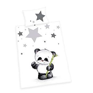 Herding Baby Best Kleinkinder-Bettwäsche-Set, Jana Panda Wendemotiv, Bettbezug 100 x 135 cm, Kopfkissenbezug 40 x 60 cm, Baumwolle/Renforcé