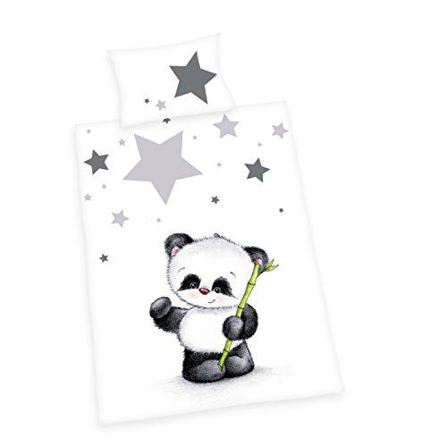Herding BABY BEST Parure de Lit pour Enfants, Réversible Panda Jana, Housse de Couette 100 x 135 cm, Taie d'Oreiller 40 x 60 cm, Coton/Renforcé