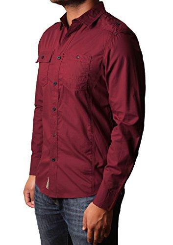 Dissident 100% coton manches de chemise décontractée des hommes de chemise retroussées Clellan Oxblood