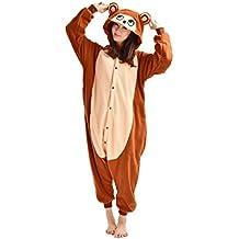 DarkCom - Disfraz de Animal unisex para adulto sirve como pijama o cosplay sleepsuit de una pieza Marrón Mono