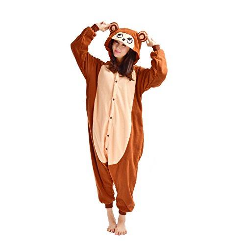 DarkCom Tier-Kostüm für Erwachsene Unisex-Modell Einteiler Jumpsuit ideal Pyjama oder Cosplay-Verkleidung Braun AFFE