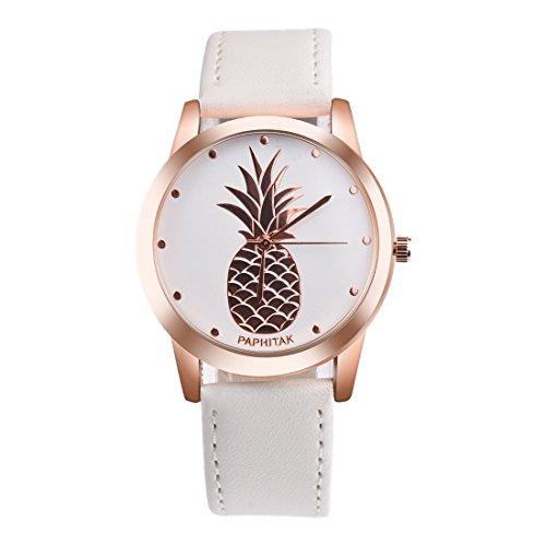 Souarts Damen Armbanduhr Einfach Stil tropisch Ananas Rose Gold Farbe Analoge Quary Uhr mit Batterie Weiß Band