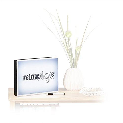 Relaxdays Light Box, LED Leuchtschild zum Zeichnen, Lichtbox mit Folie und Marker, HxBxT: 22 x 30 x 4,5 cm, schwarz/weiß