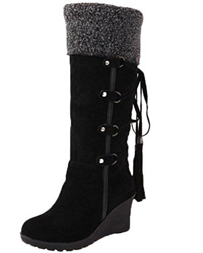 Minetom Mujer Invierno Boots Calentar Botas De Nieve Skidproof Felpa Algodón Acolchado Cuña Zapatos Negro EU 42