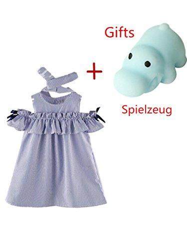 Vovotrade Sommer Kleinkind Kinder Baby Mädchen Outfit Kleidung trägerlosen Streifen Kleid + Stirnband Set 2PCS (Größe: 5/6 Jahre ()