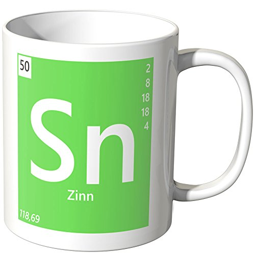 Wandkings Tasse, Element Zinn 'Sn' - Weiß
